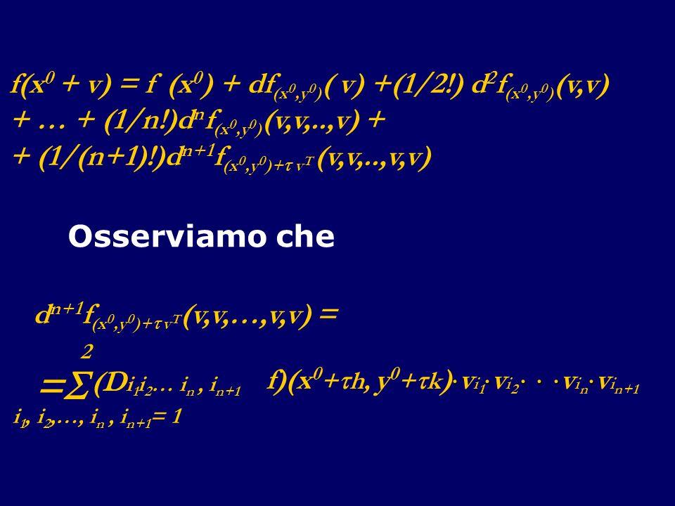 f(x 0 + v) = f (x 0 ) + df (x 0,y 0 ) ( v) +(1/2!) d 2 f (x 0,y 0 ) (v,v) + … + (1/n!)d n f (x 0,y 0 ) (v,v,..,v) + + (1/(n+1)!)d n+1 f (x 0,y 0 )+ v