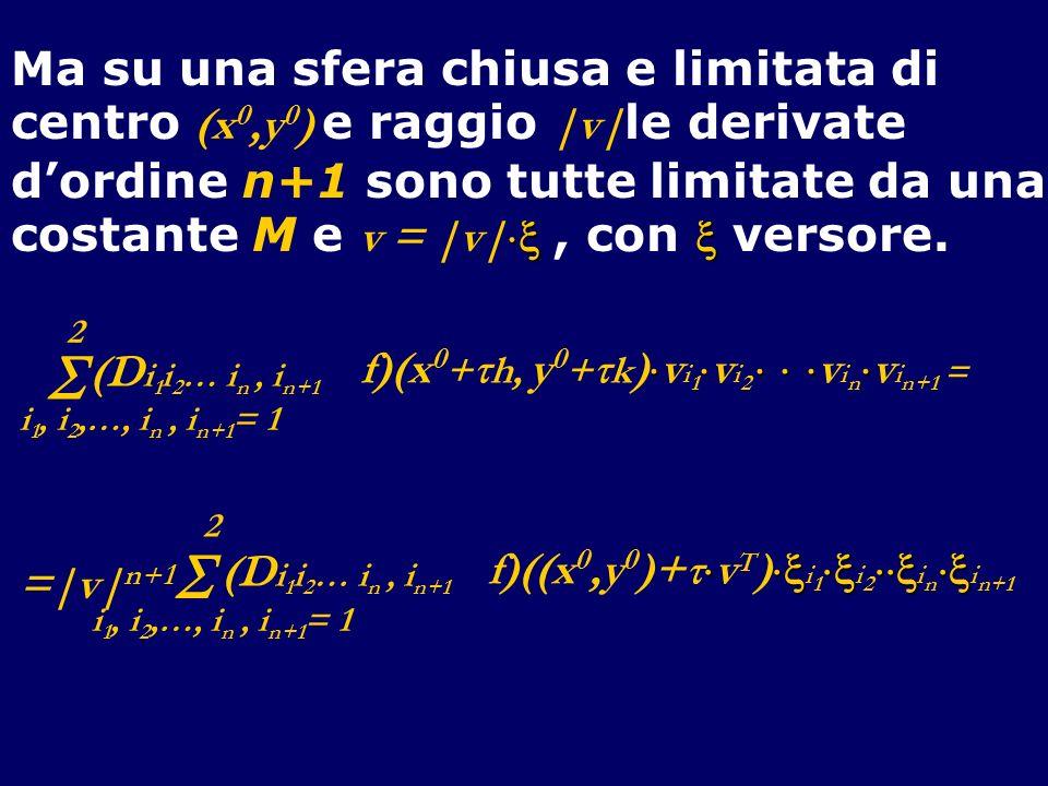 Ma su una sfera chiusa e limitata di centro (x 0,y 0 ) e raggio |v| le derivate dordine n+1 sono tutte limitate da una costante M e v = |v|, con verso