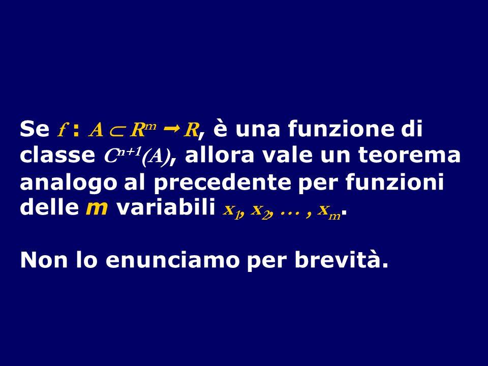 Se f : A R m R, è una funzione di classe C n+1 (A), allora vale un teorema analogo al precedente per funzioni delle m variabili x 1, x 2, …, x m. Non