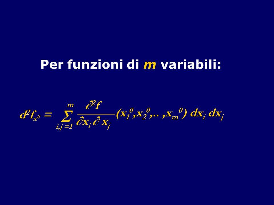 Per funzioni di m variabili: d 2 f x 0 = i,j =1 m 2 f ______ x i x j (x 1 0,x 2 0,..,x m 0 ) dx i dx j