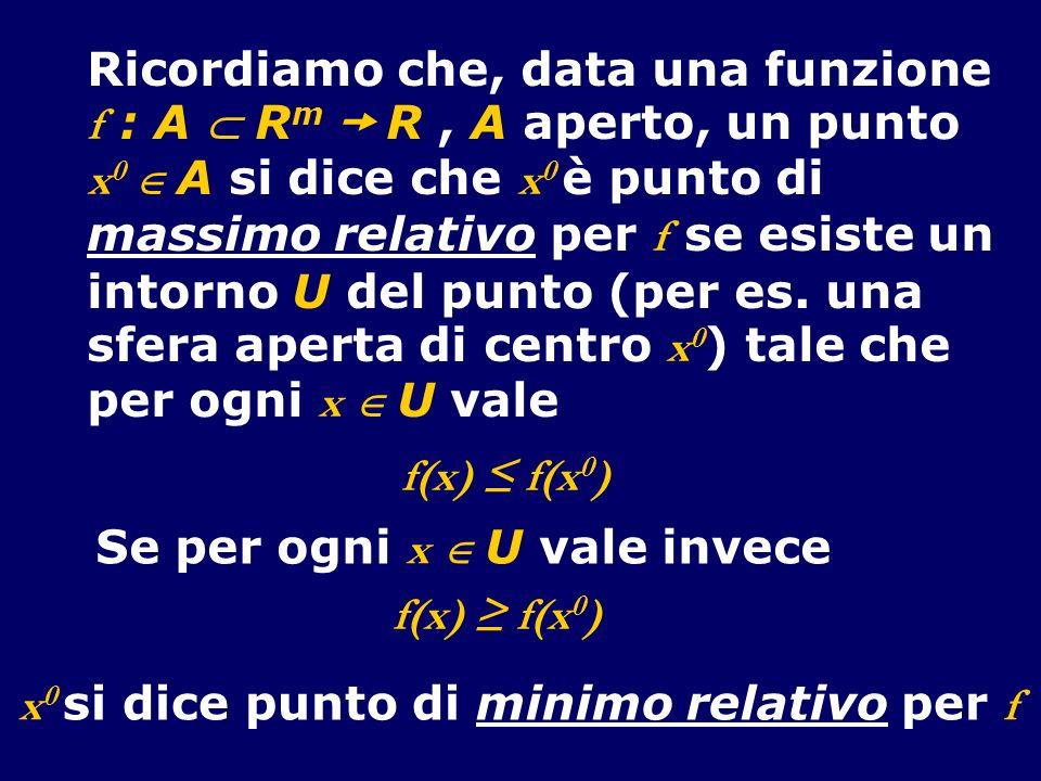 Ricordiamo che, data una funzione f : A R m R, A aperto, un punto x 0 A si dice che x 0 è punto di massimo relativo per f se esiste un intorno U del p