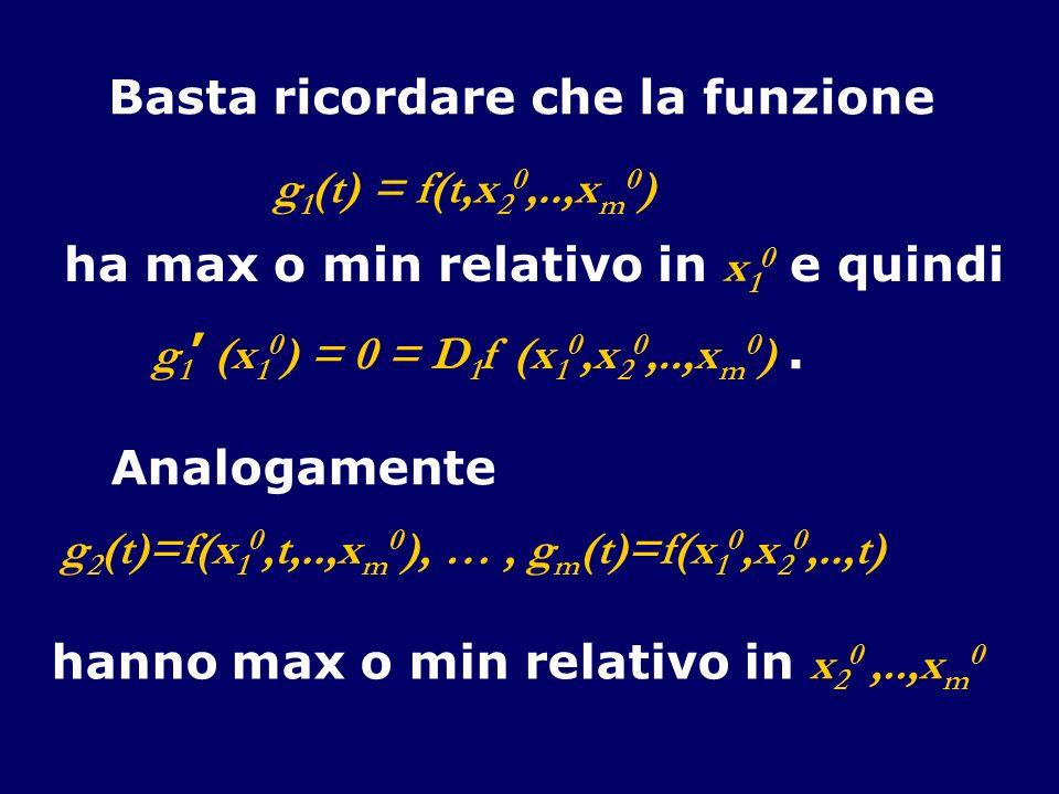 Basta ricordare che la funzione g 1 (t) = f(t,x 2 0,..,x m 0 ) ha max o min relativo in x 1 0 e quindi g 1 (x 1 0 ) = 0 = D 1 f (x 1 0,x 2 0,..,x m 0