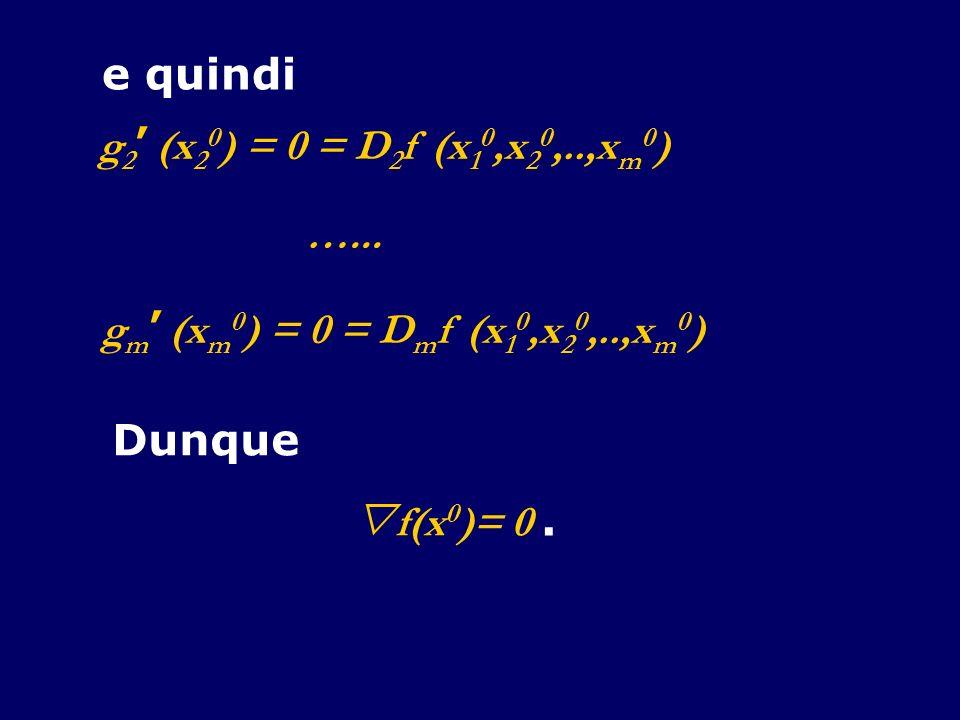 e quindi g 2 (x 2 0 ) = 0 = D 2 f (x 1 0,x 2 0,..,x m 0 ) …... g m (x m 0 ) = 0 = D m f (x 1 0,x 2 0,..,x m 0 ) Dunque f(x 0 )= 0.
