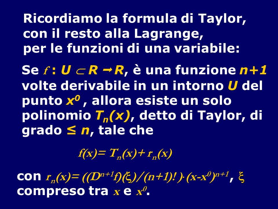 Ricordiamo la formula di Taylor, con il resto alla Lagrange, per le funzioni di una variabile: Se f : U R R, è una funzione n+1 volte derivabile in un