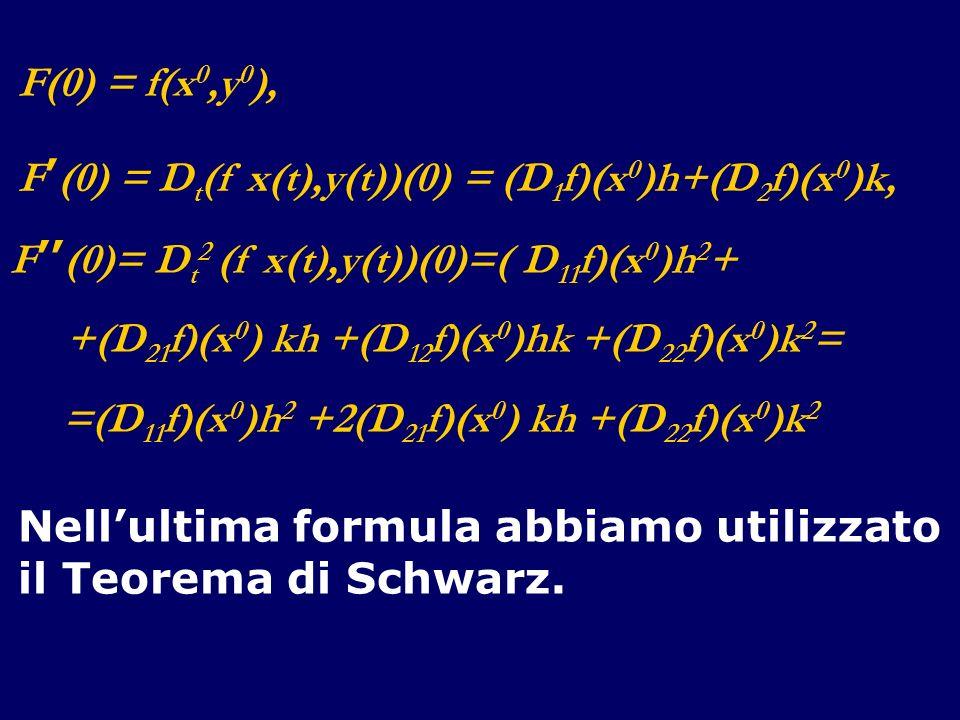 F(0) = f(x 0,y 0 ), F (0) = D t (f x(t),y(t))(0) = (D 1 f)(x 0 )h+(D 2 f)(x 0 )k, F (0)= D t 2 (f x(t),y(t))(0)=( D 11 f)(x 0 )h 2 + +(D 21 f)(x 0 ) k