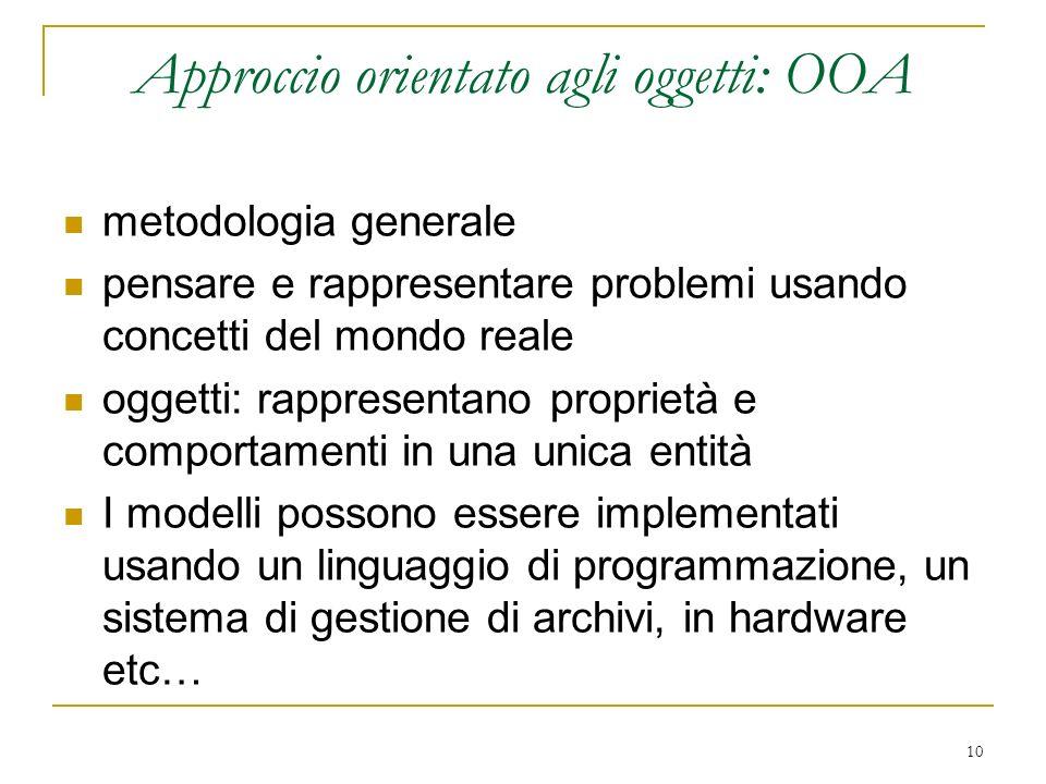 10 Approccio orientato agli oggetti: OOA metodologia generale pensare e rappresentare problemi usando concetti del mondo reale oggetti: rappresentano