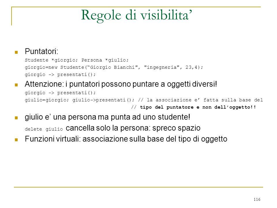 116 Puntatori: Studente *giorgio; Persona *giulio; giorgio=new Studente(Giorgio Bianchi