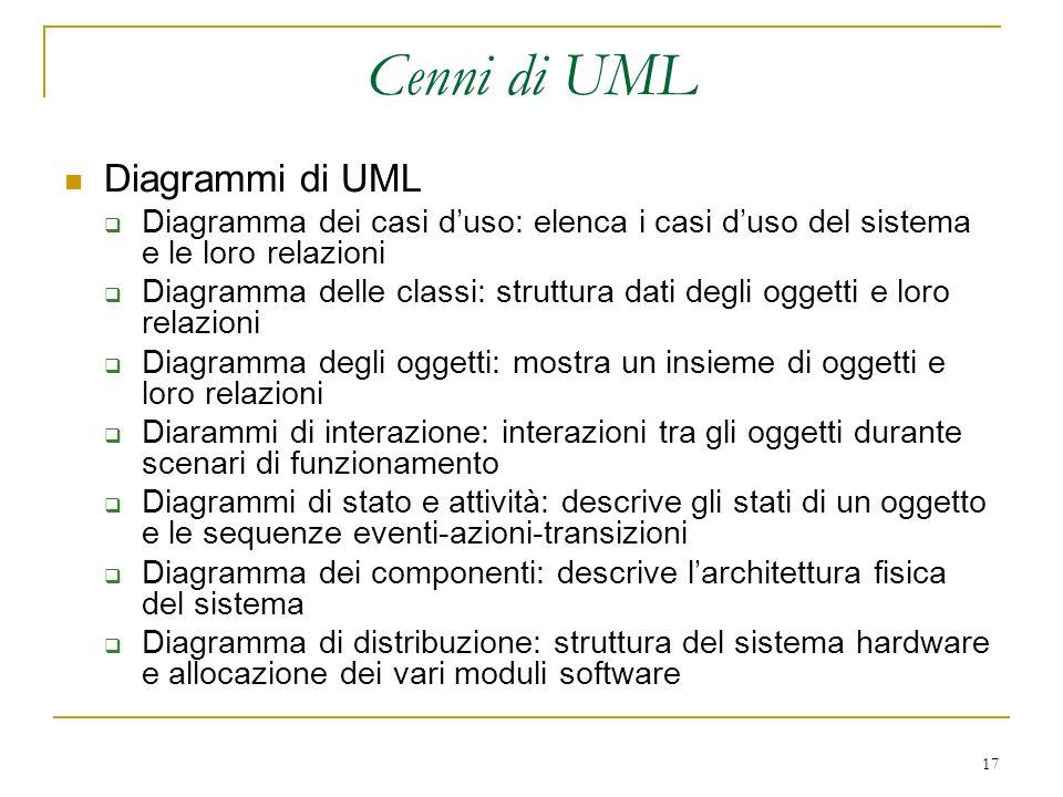 17 Cenni di UML Diagrammi di UML Diagramma dei casi duso: elenca i casi duso del sistema e le loro relazioni Diagramma delle classi: struttura dati de