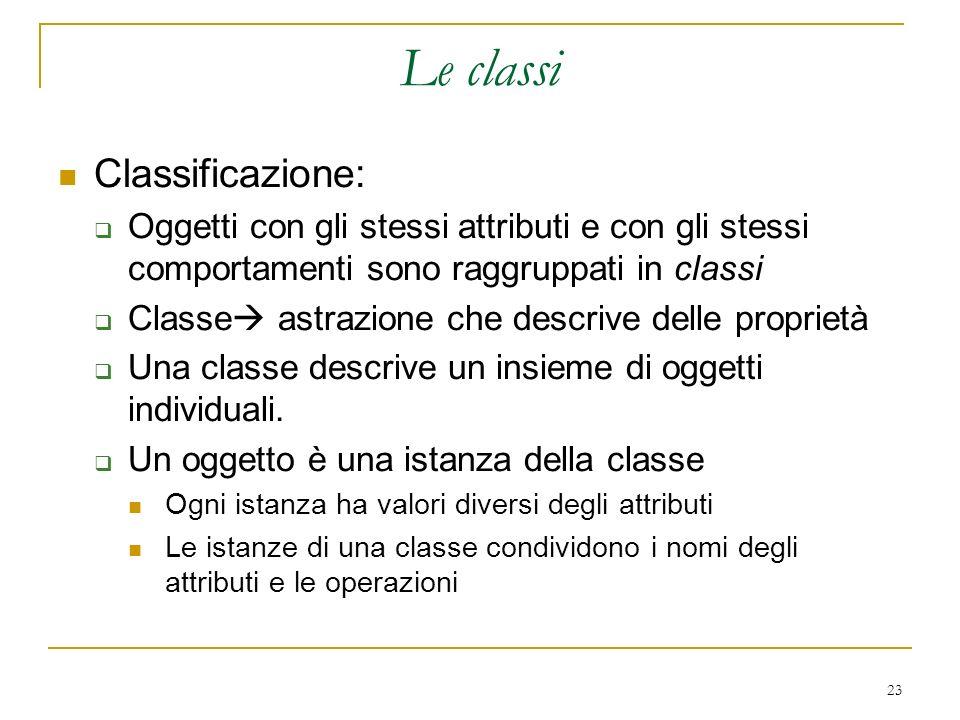 23 Le classi Classificazione: Oggetti con gli stessi attributi e con gli stessi comportamenti sono raggruppati in classi Classe astrazione che descriv