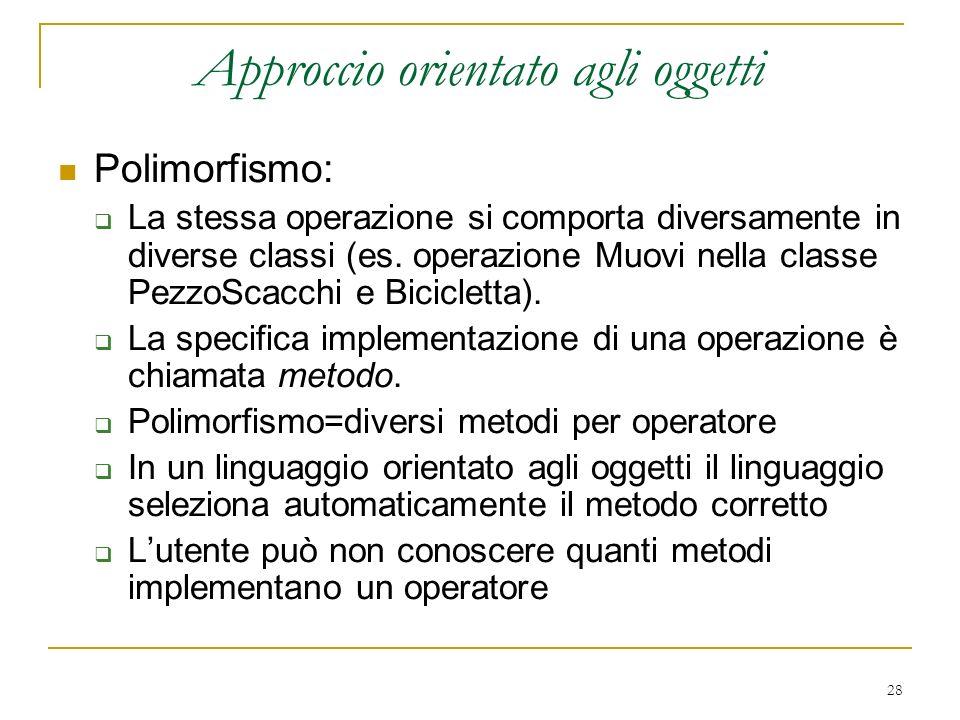 28 Approccio orientato agli oggetti Polimorfismo: La stessa operazione si comporta diversamente in diverse classi (es. operazione Muovi nella classe P