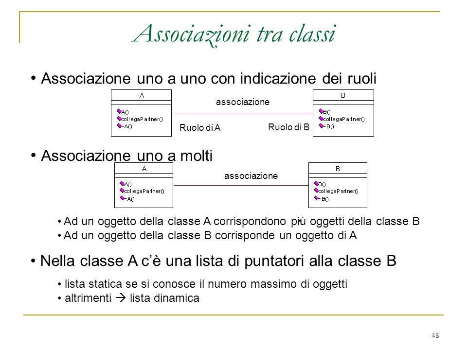 48 Associazioni tra classi associazione Ruolo di A Ruolo di B Associazione uno a uno con indicazione dei ruoli Associazione uno a molti associazione *