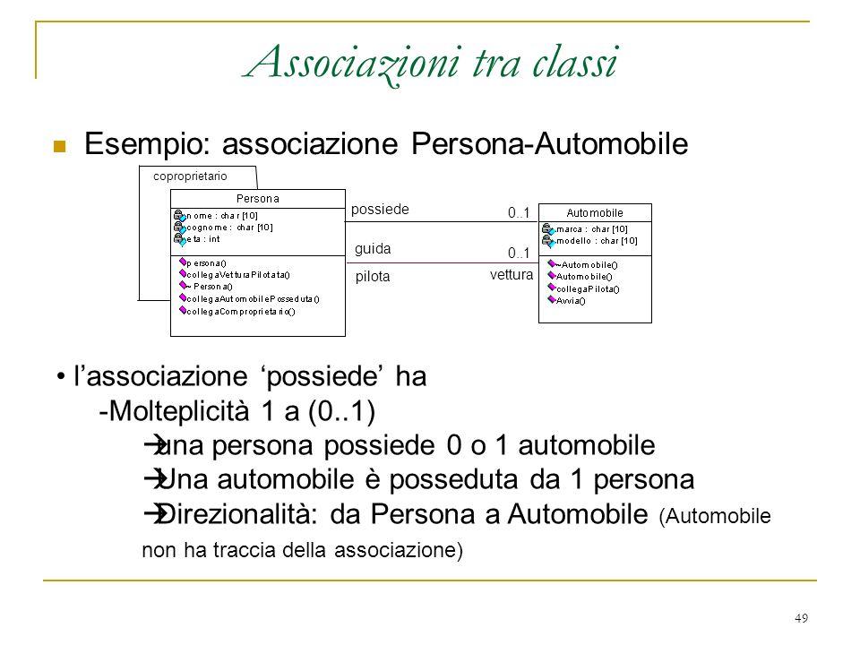 49 Associazioni tra classi Esempio: associazione Persona-Automobile lassociazione possiede ha -Molteplicità 1 a (0..1) una persona possiede 0 o 1 auto