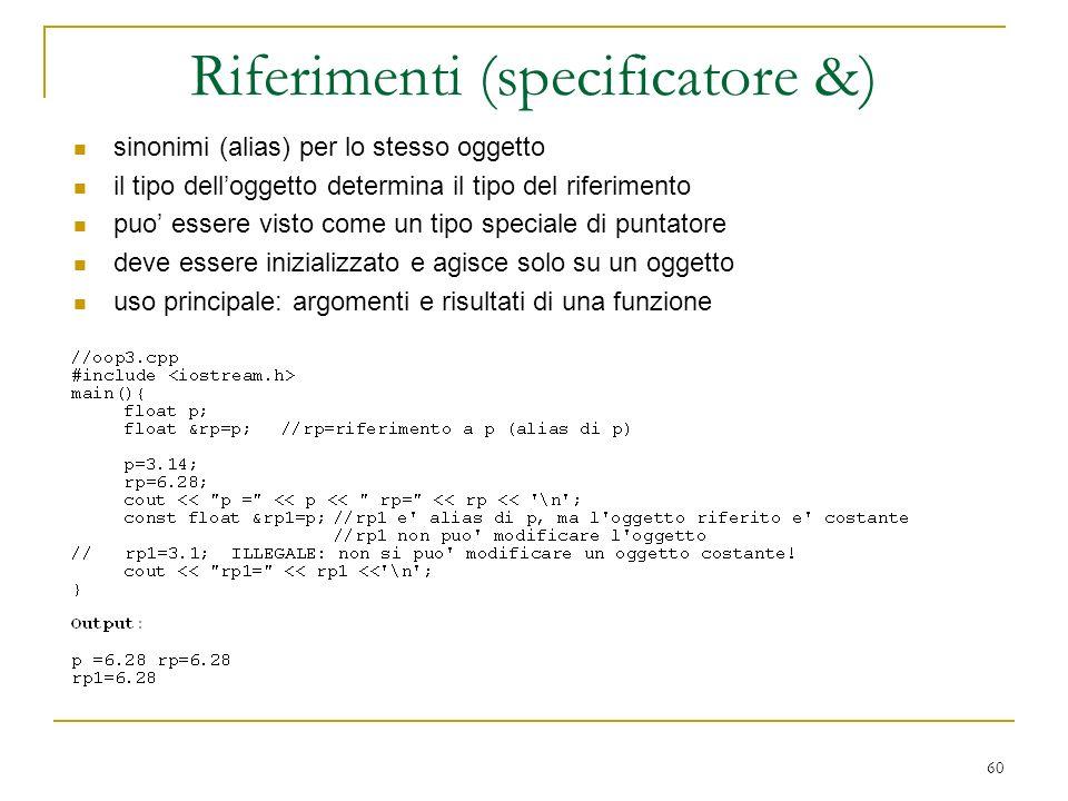 60 sinonimi (alias) per lo stesso oggetto il tipo delloggetto determina il tipo del riferimento puo essere visto come un tipo speciale di puntatore de