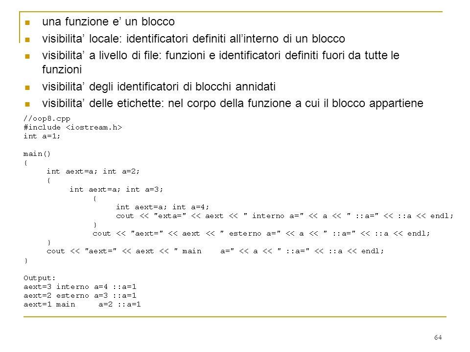 64 una funzione e un blocco visibilita locale: identificatori definiti allinterno di un blocco visibilita a livello di file: funzioni e identificatori