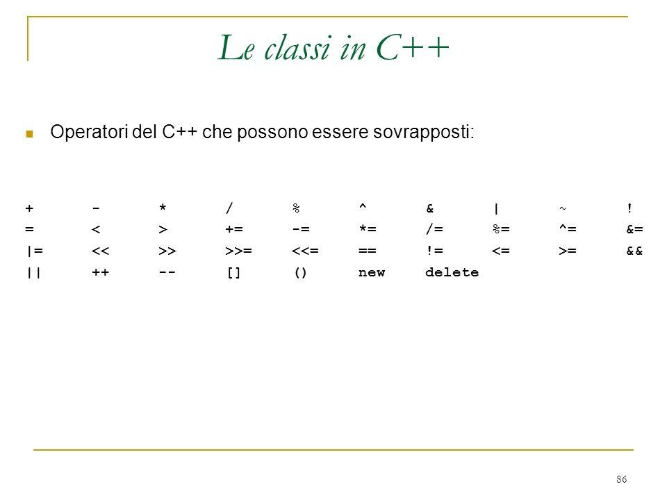 86 Operatori del C++ che possono essere sovrapposti: +-*/%^&|~! =<>+=-=*=/=%=^=&= |= >>>= =&& ||++--[]()newdelete Le classi in C++