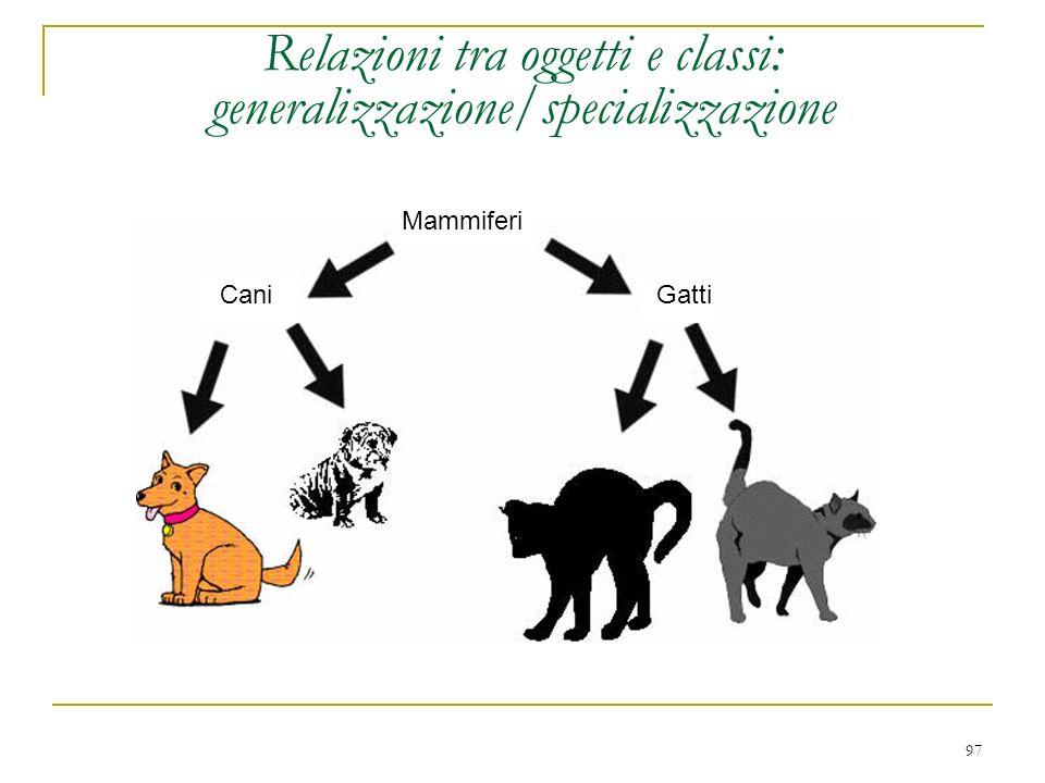 97 Relazioni tra oggetti e classi: generalizzazione/specializzazione Mammiferi CaniGatti