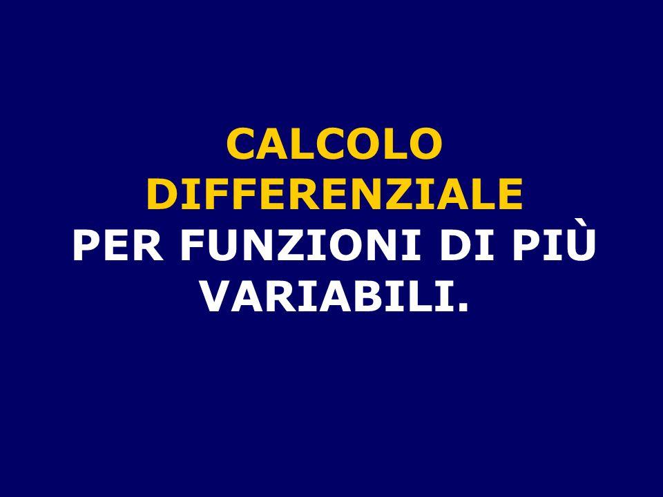 CALCOLO DIFFERENZIALE PER FUNZIONI DI PIÙ VARIABILI.