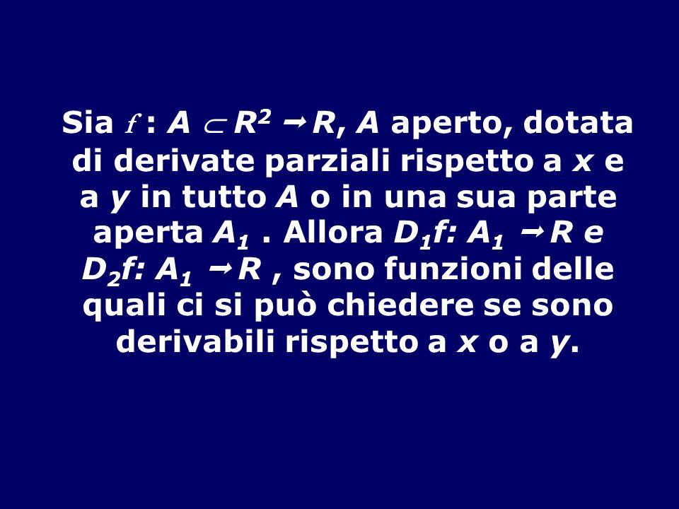 Sia f : A R 2 R, A aperto, dotata di derivate parziali rispetto a x e a y in tutto A o in una sua parte aperta A 1. Allora D 1 f: A 1 R e D 2 f: A 1 R