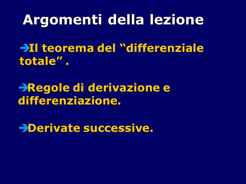 Il teorema del differenziale totale. Il teorema del differenziale totale. Argomenti della lezione Regole di derivazione e differenziazione. Regole di