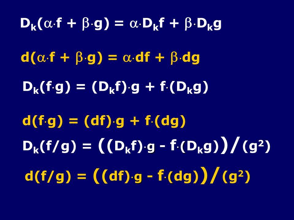 D k ( f + g) = D k f + D k g d( f + g) = df + dg D k (f g) = (D k f) g + f (D k g) d(f g) = (df) g + f (dg) g( D k (f/g) = ( ( D k f)g - f( D k g) )/