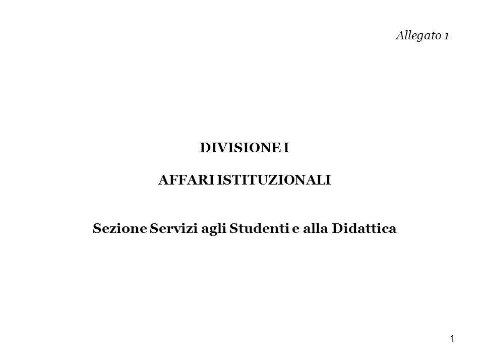1 Allegato 1 DIVISIONE I AFFARI ISTITUZIONALI Sezione Servizi agli Studenti e alla Didattica