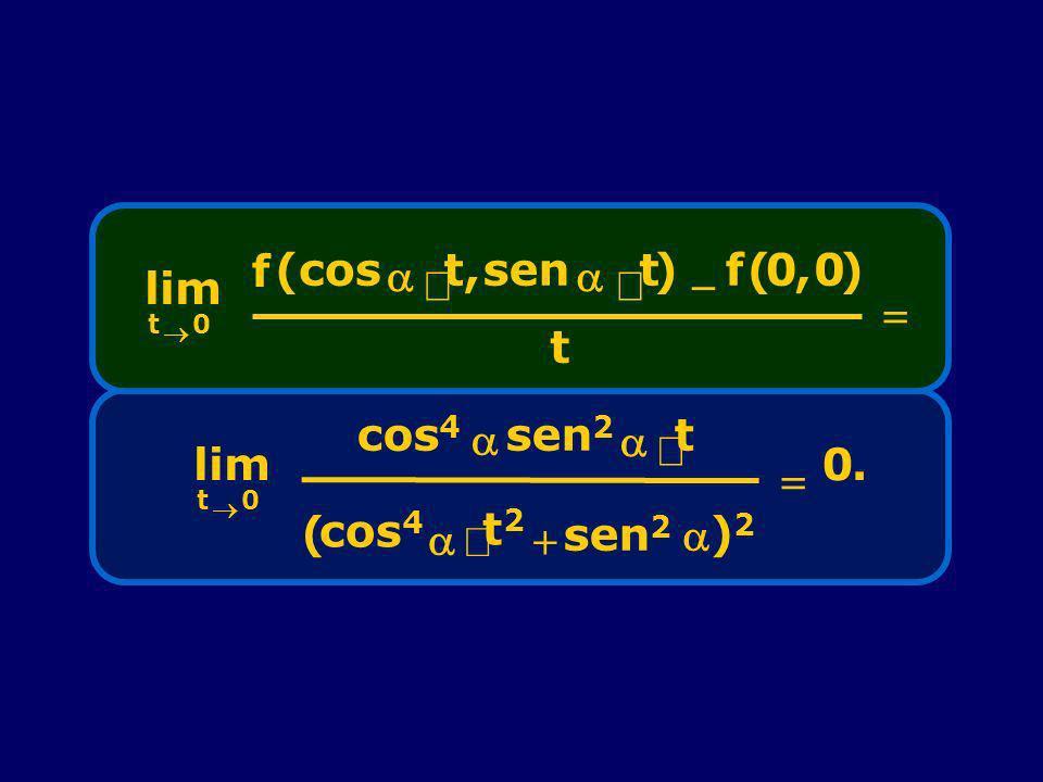 lim t 0 f (cos t,sen t) f(0,0) t lim t 0 cos 4 sen 2 t cos 4 t2t2 sen 2 ()2)2 0.