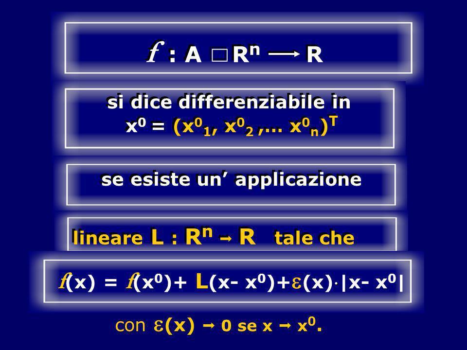 f : A R n R si dice differenziabile in x 0 = (x 0 1, x 0 2,… x 0 n ) T se esiste un applicazione lineare L : R n R tale che f (x) = f (x 0 )+ L (x- x