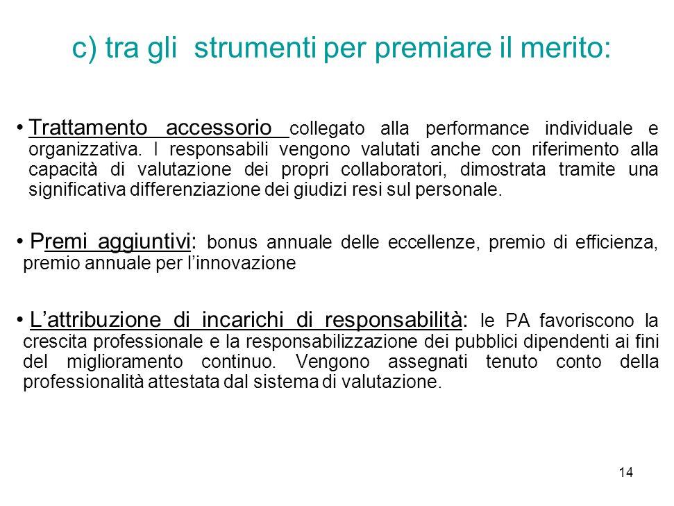 c) tra gli strumenti per premiare il merito: Trattamento accessorio collegato alla performance individuale e organizzativa.