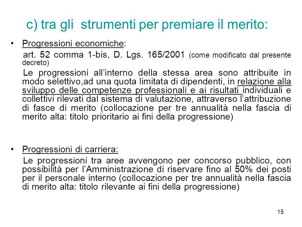 15 c) tra gli strumenti per premiare il merito: Progressioni economiche: art.