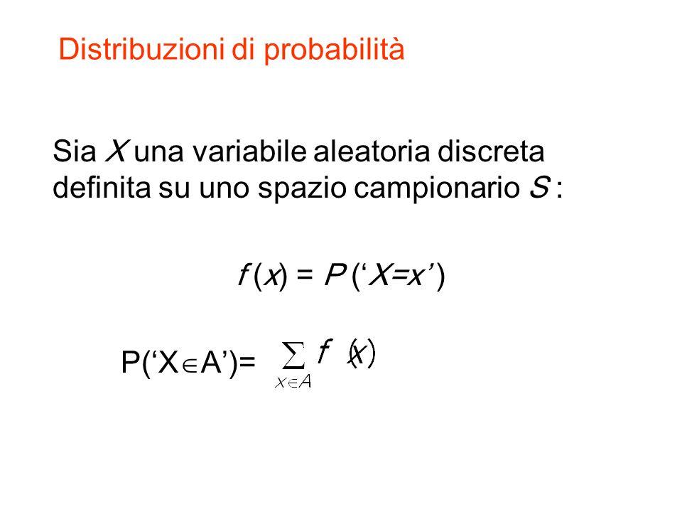 Distribuzioni di probabilità Sia X una variabile aleatoria discreta definita su uno spazio campionario S : f (x) = P (X=x ) P(X A)=