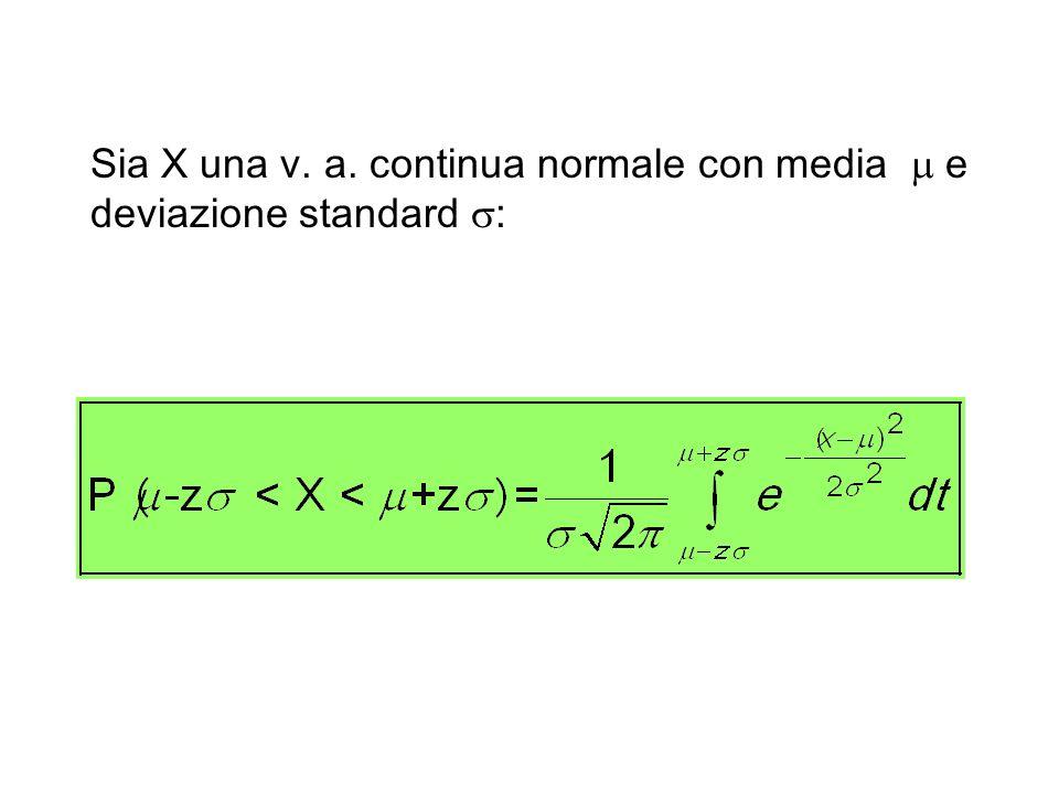Sia X una v. a. continua normale con media e deviazione standard :