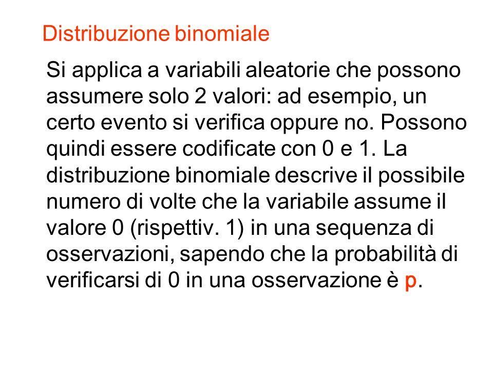 Distribuzione binomiale Si applica a variabili aleatorie che possono assumere solo 2 valori: ad esempio, un certo evento si verifica oppure no.