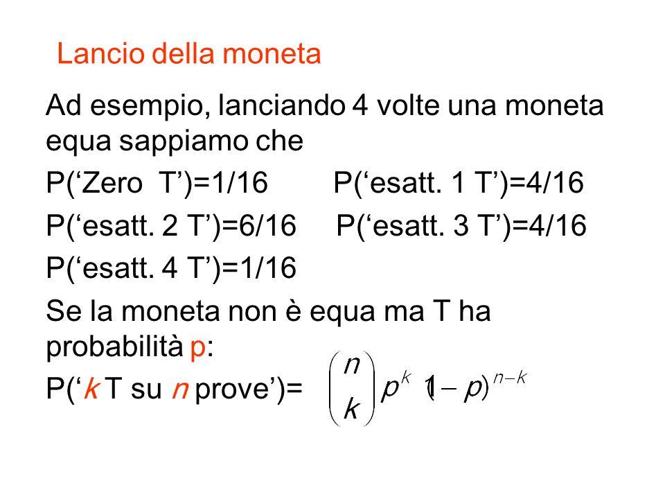 Lancio della moneta Ad esempio, lanciando 4 volte una moneta equa sappiamo che P(Zero T)=1/16 P(esatt.