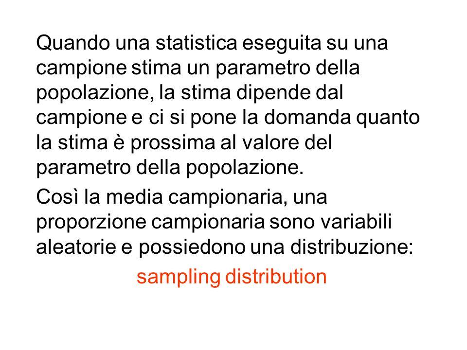 Quando una statistica eseguita su una campione stima un parametro della popolazione, la stima dipende dal campione e ci si pone la domanda quanto la stima è prossima al valore del parametro della popolazione.