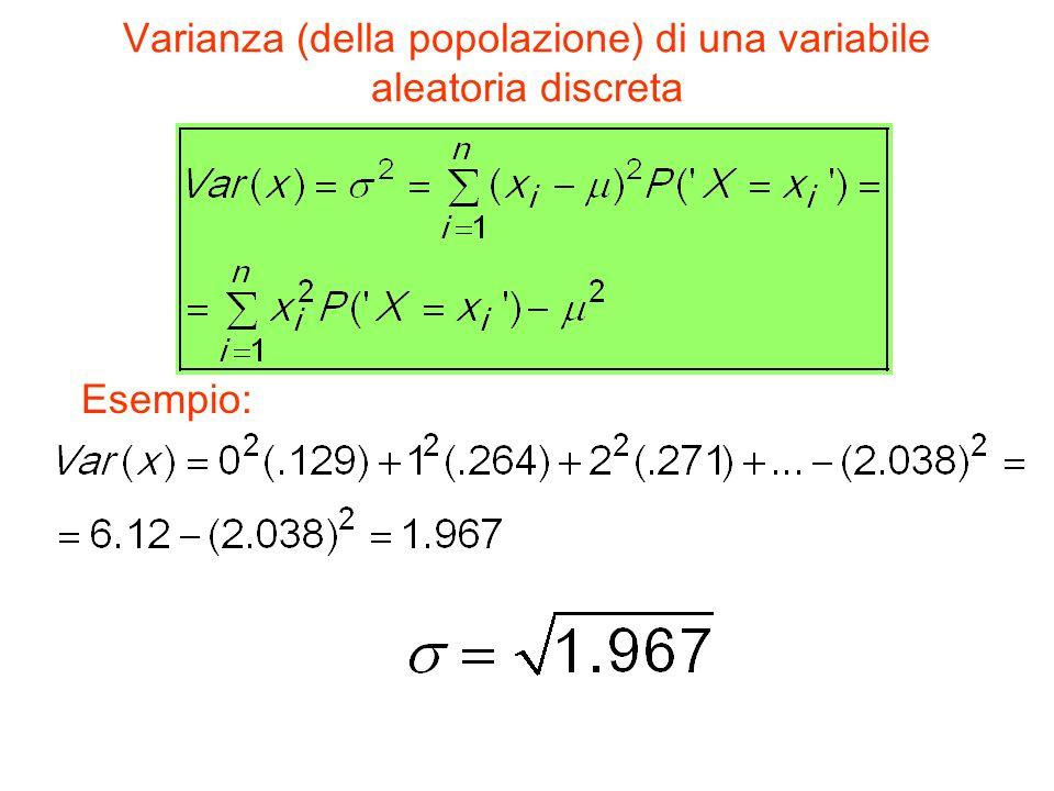 Varianza (della popolazione) di una variabile aleatoria discreta Esempio: