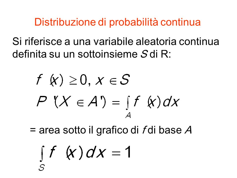 Distribuzione di probabilità continua Si riferisce a una variabile aleatoria continua definita su un sottoinsieme S di R: = area sotto il grafico di f di base A