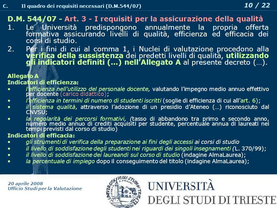 20 aprile 2008 Ufficio Studi per la Valutazione 10 / 22 D.M.