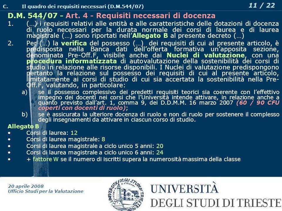 20 aprile 2008 Ufficio Studi per la Valutazione 11 / 22 D.M.