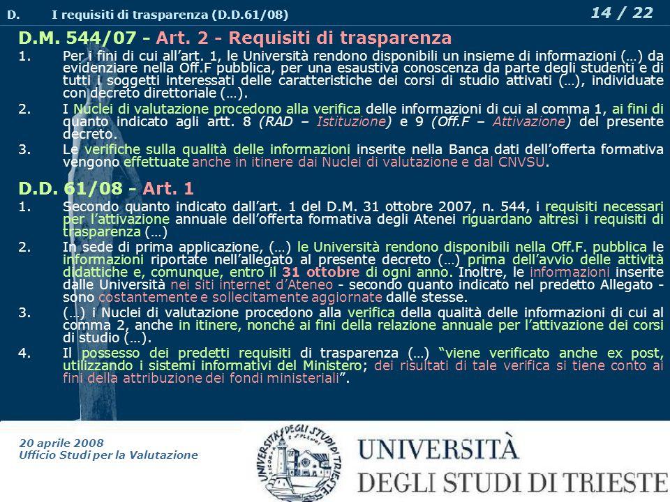 20 aprile 2008 Ufficio Studi per la Valutazione 14 / 22 D.M.