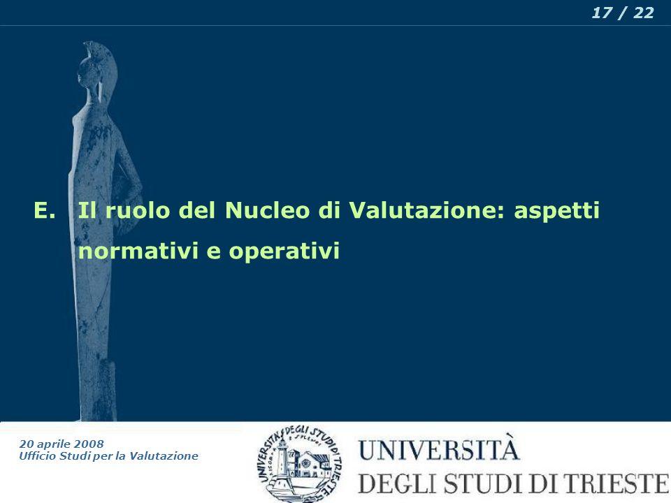 20 aprile 2008 Ufficio Studi per la Valutazione 17 / 22 E.Il ruolo del Nucleo di Valutazione: aspetti normativi e operativi