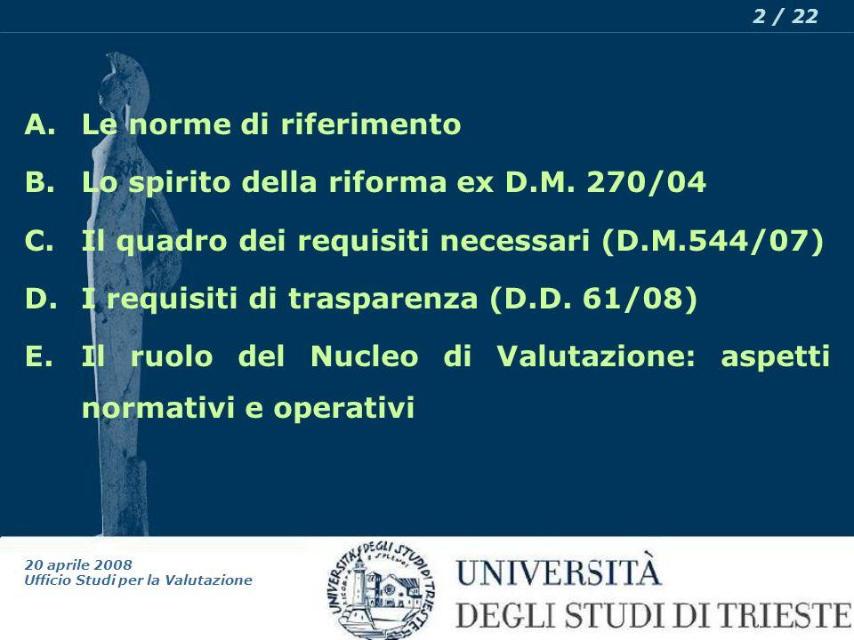 20 aprile 2008 Ufficio Studi per la Valutazione 2 / 22 A.Le norme di riferimento B.Lo spirito della riforma ex D.M.