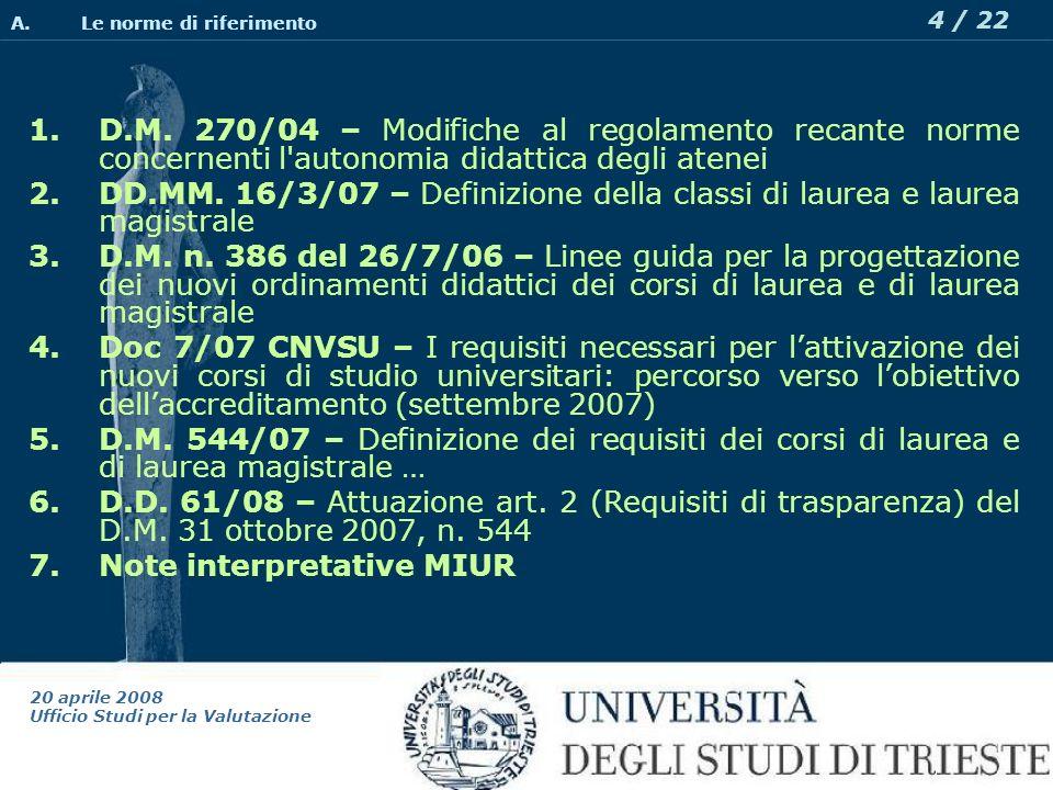 20 aprile 2008 Ufficio Studi per la Valutazione 4 / 22 1.D.M.
