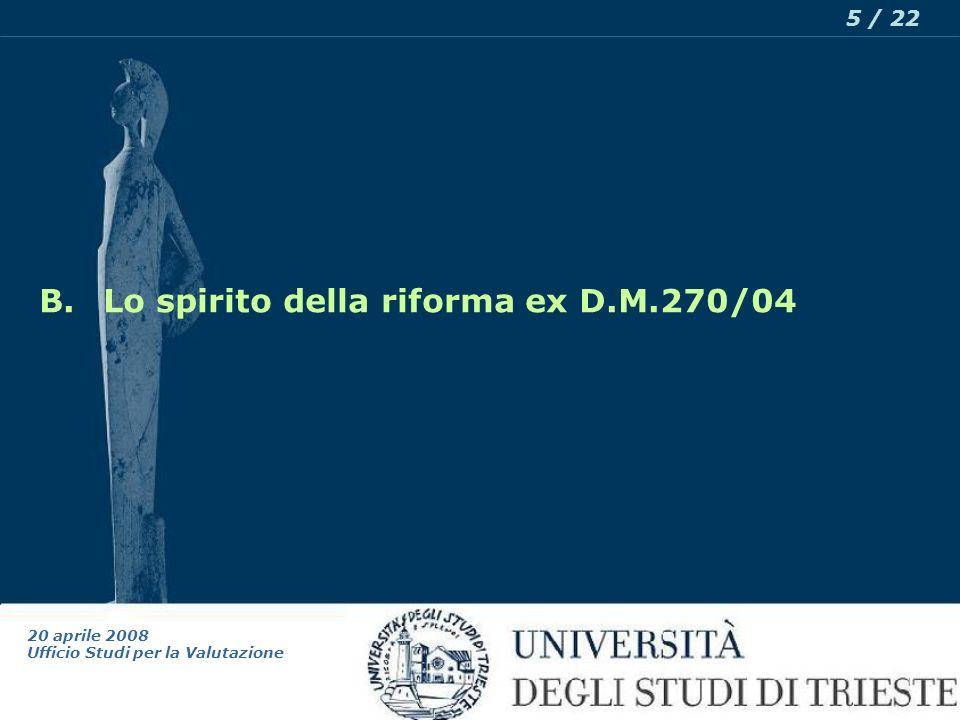 20 aprile 2008 Ufficio Studi per la Valutazione 5 / 22 B.Lo spirito della riforma ex D.M.270/04