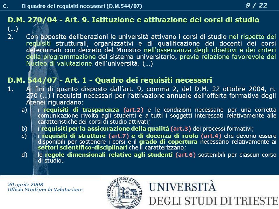 20 aprile 2008 Ufficio Studi per la Valutazione 9 / 22 D.M.