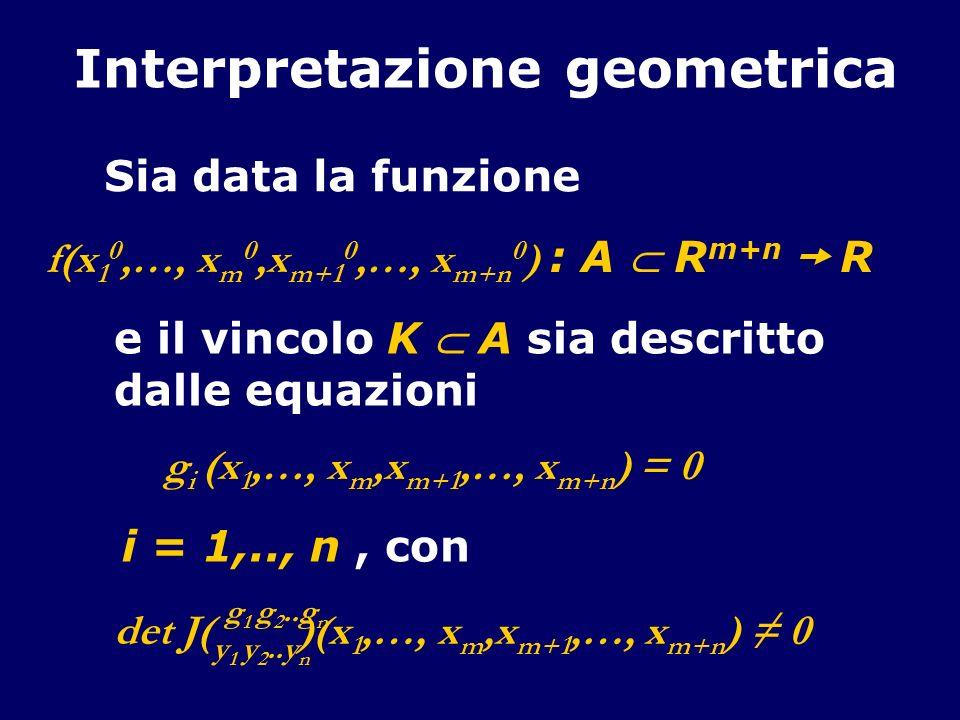 Interpretazione geometrica Sia data la funzione f(x 1 0,…, x m 0,x m+1 0,…, x m+n 0 ) : A R m+n R g i (x 1,…, x m,x m+1,…, x m+n ) = 0 e il vincolo K A sia descritto dalle equazioni det J( )(x 1,…, x m,x m+1,…, x m+n ) 0 g 1 g 2..g n y 1 y 2..y n i = 1,.., n, con
