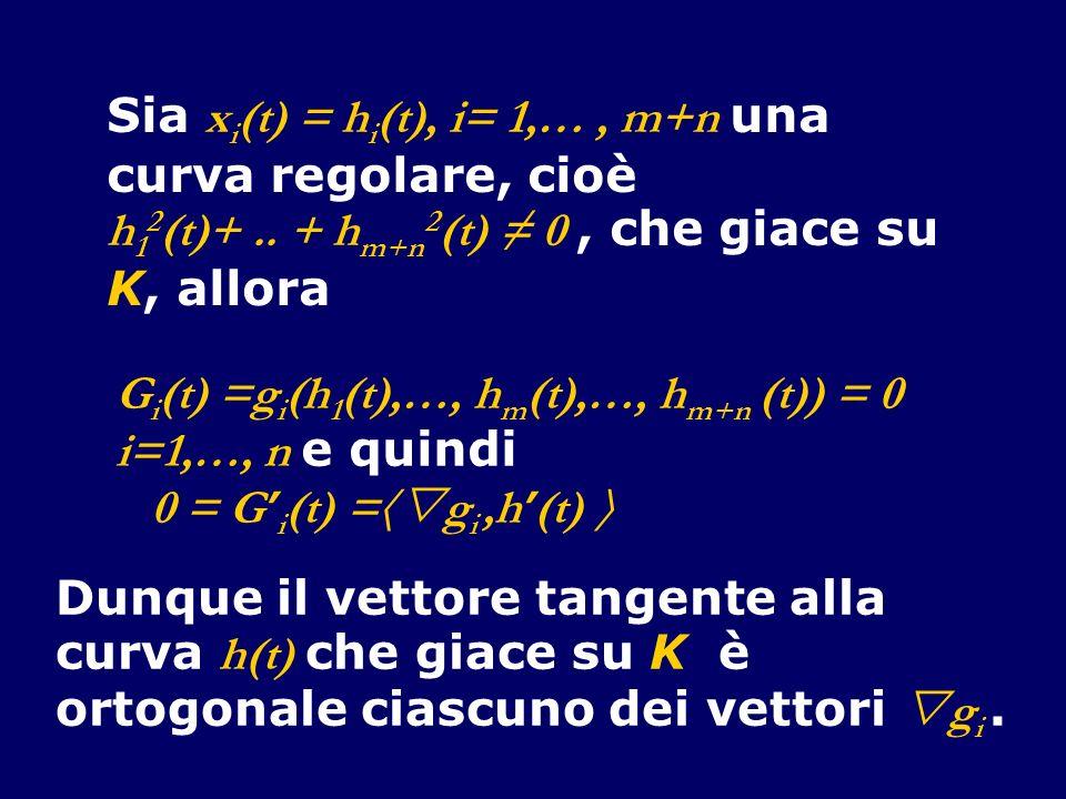 Sia x i (t) = h i (t), i= 1,…, m+n una curva regolare, cioè h 1 2 (t)+..
