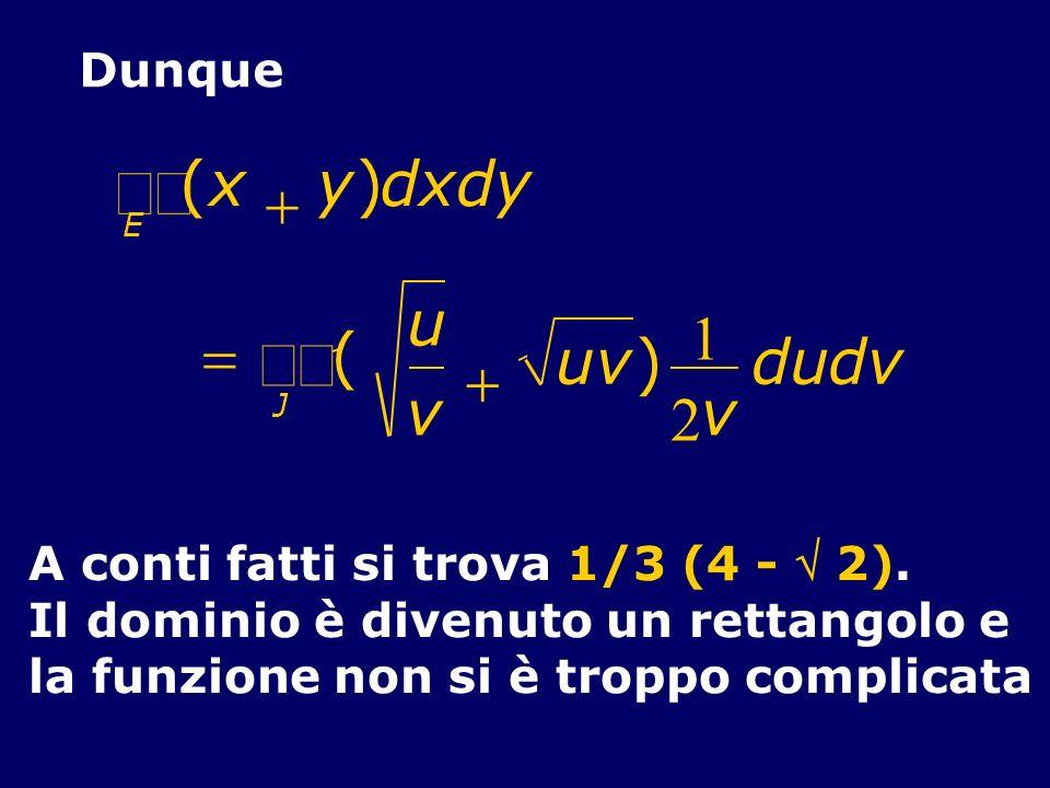 Dunque (x y)dxdy E ( u v uv J ) 1 2 v dudv A conti fatti si trova 1/3 (4 - 2). Il dominio è divenuto un rettangolo e la funzione non si è troppo compl