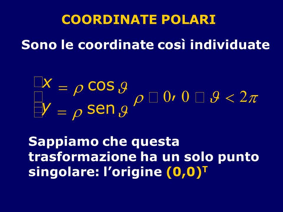 COORDINATE POLARI Sono le coordinate così individuate x cos y sen 0, 0 2 Sappiamo che questa trasformazione ha un solo punto singolare: lorigine (0,0)