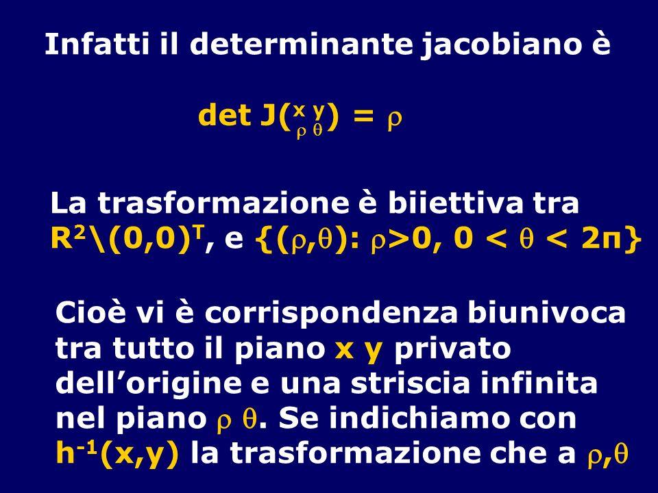 Infatti il determinante jacobiano è det J( x y ) = La trasformazione è biiettiva tra R 2 \(0,0) T, e {(,): >0, 0 < < 2π} Cioè vi è corrispondenza biun