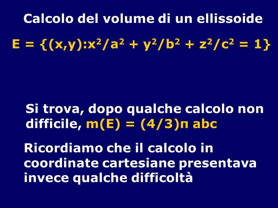 Calcolo del volume di un ellissoide E = {(x,y):x 2 /a 2 + y 2 /b 2 + z 2 /c 2 = 1} Si trova, dopo qualche calcolo non difficile, m(E) = (4/3)π abc Ric